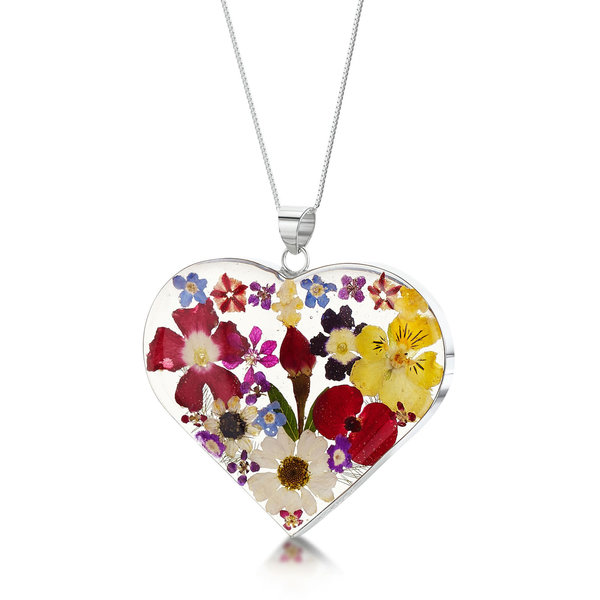 Heart necklace with real flowers and  silver large  119