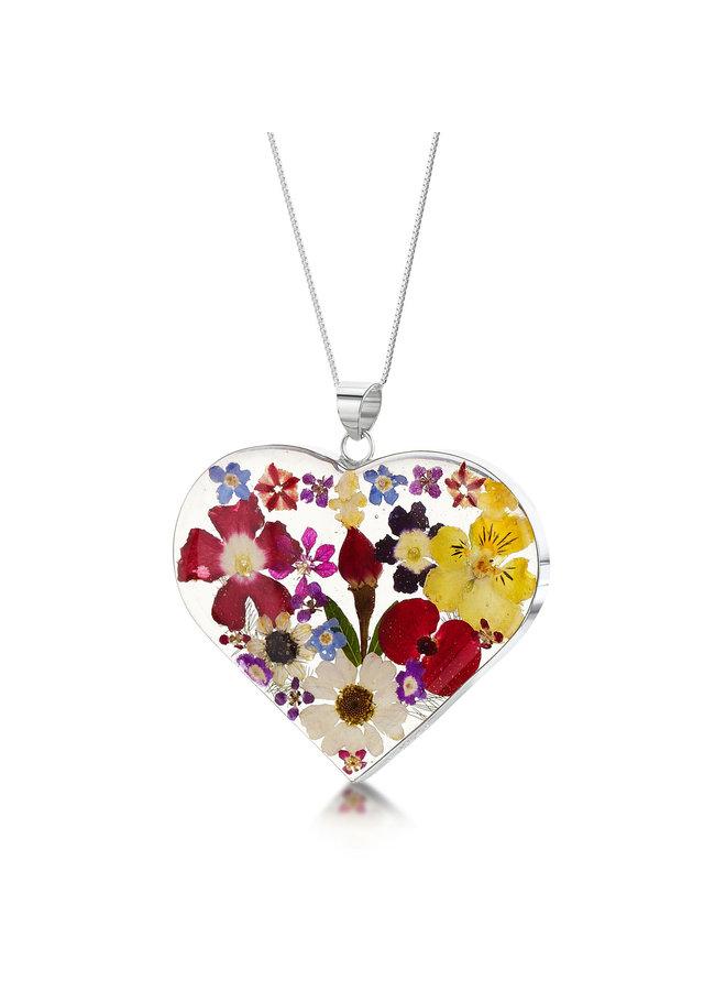 Herzkette mit echten Blumen und Silber groß 119