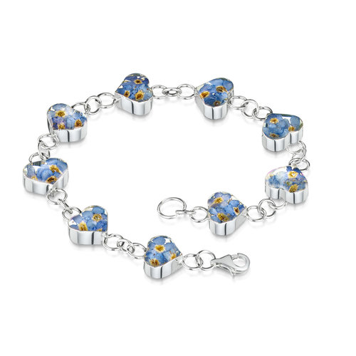 Shrieking Violet Heart  Forget me not  bracelet real flowers and silver 126