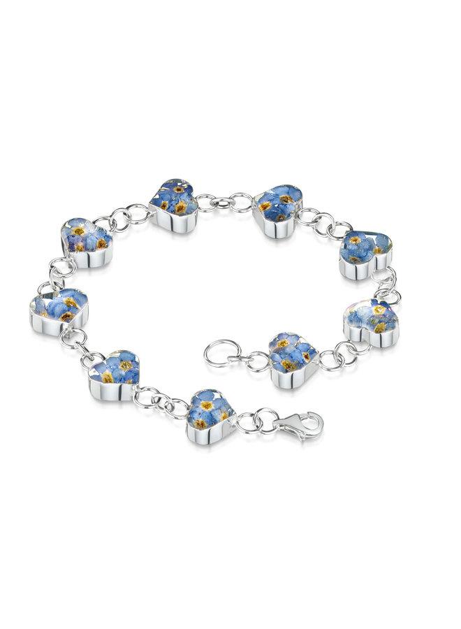 Herz Vergiss mich nicht Armband echte Blumen und Silber 126