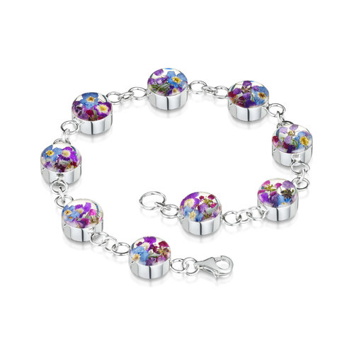 Shrieking Violet Purple Haze bracellet mixed  real flowers and silver 128