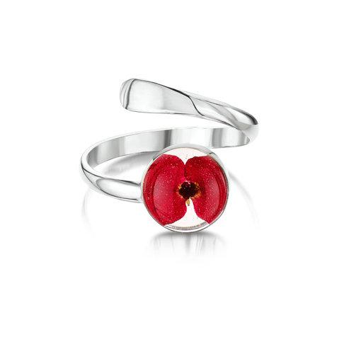 Shrieking Violet Mohn runden verstellbaren Ring mit echten Blumen und Silber 122