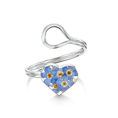 Shrieking Violet Heart  Forget me not  adjustable ring  real flowers and silver 127