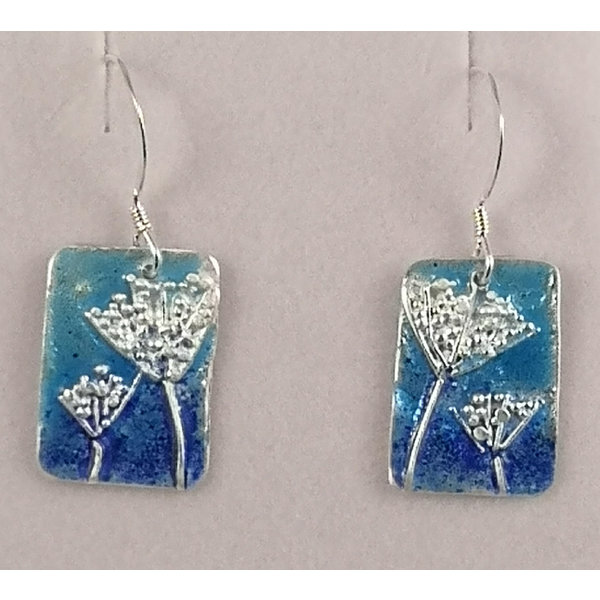 Fennel Rectangle  silver and enamel drop earrings 34