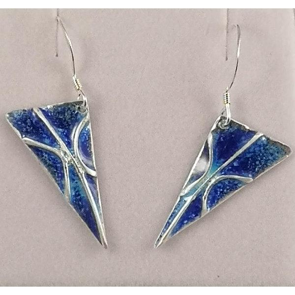 Lightening  silver and enamel drop earrings 35