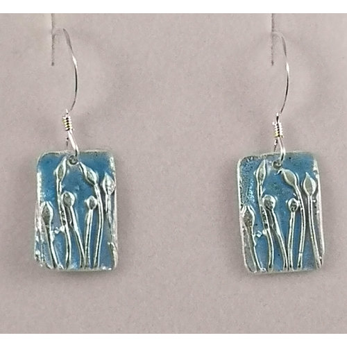 Maria Santos Tulips rectangular  silver and enamel drop earrings 36