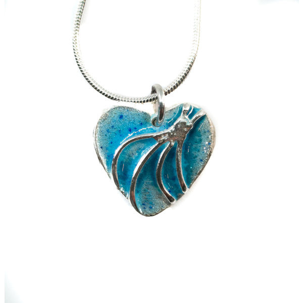 Heart enamel silver necklace