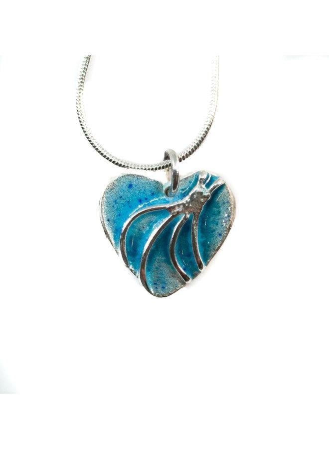Heart enamel silver necklace