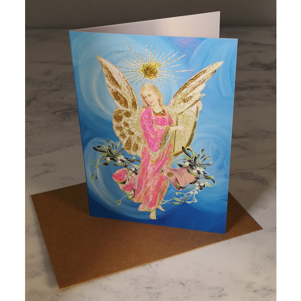 Blue Angel  Vintage Glitter Card 71