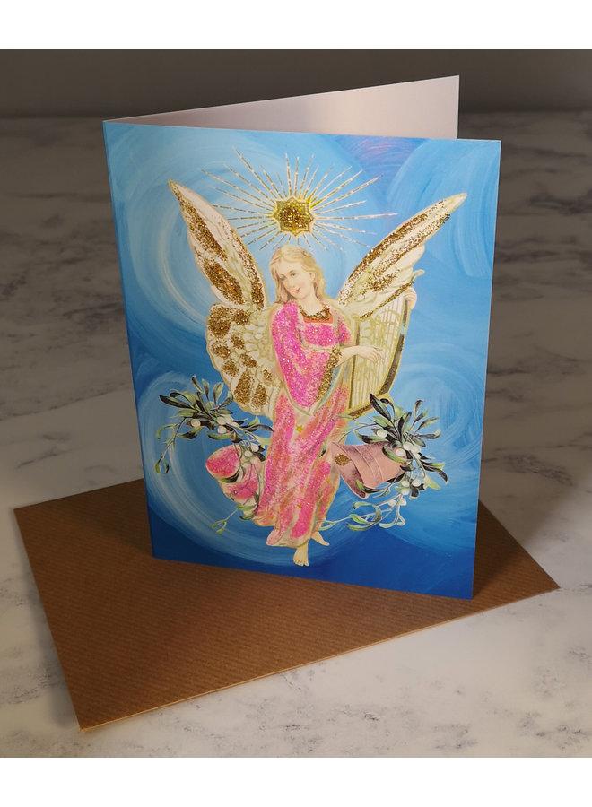 Blue Angel  Vintage Glitter Card 71