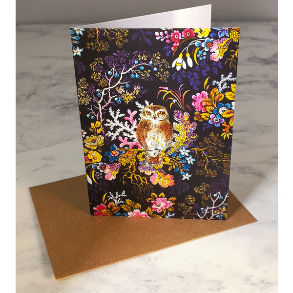 Little Owl Vintage Glitter Card 66