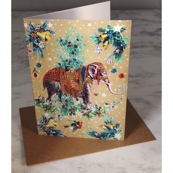 Mistletoe Elephant  Vintage Glitter Card 76