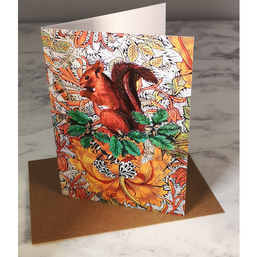 Diana Wilson Red Squirrel Vintage Glitter Card 75