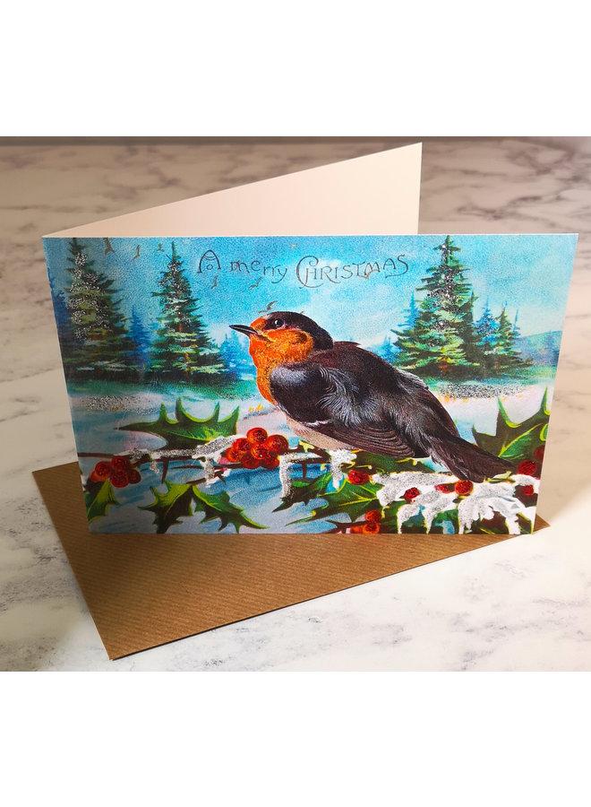 Robin Vintage Glitter Card