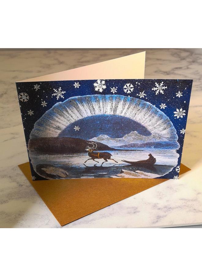 Sleigh Vintage Glitter Card