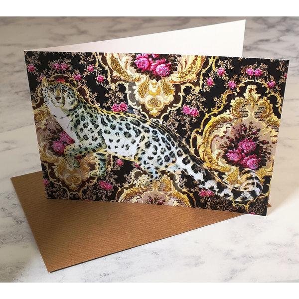 Snow Leopard Vintage Glitter Card 68