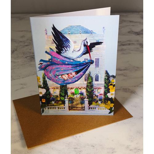 Diana Wilson Stork Vintage Glitter Card 69