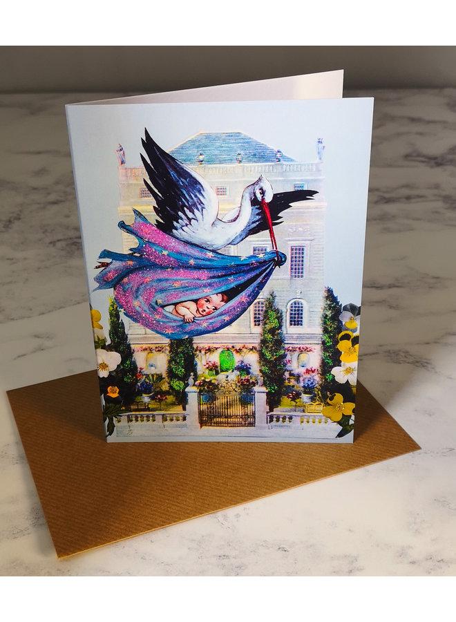 Stork Vintage Glitter Card 69