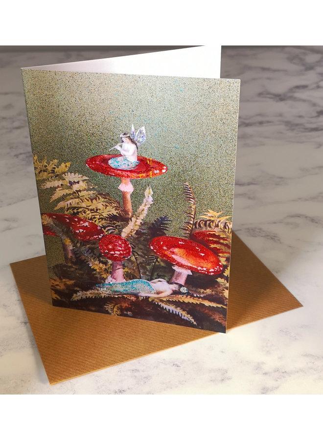 Toadstools  Vintage Glitter Card 78