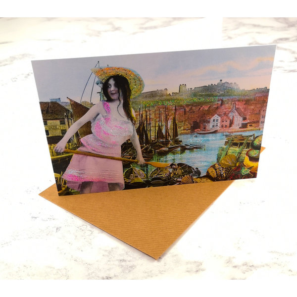 Whitby Harbour Vintage Glitter Card 64
