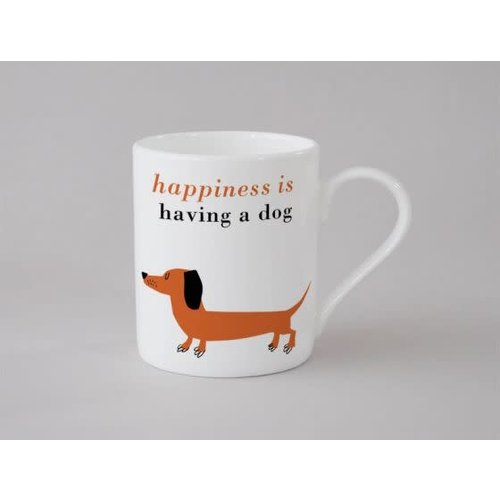 Repeat Repeat Happiness Sausage Dog Small Mug  Orange 133