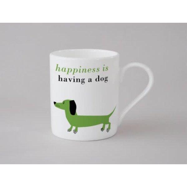 Happiness Sausage Dog Small Mug  Green 134