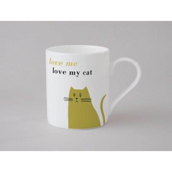 Happiness Sitting Cat  Small Mug  Olive 135