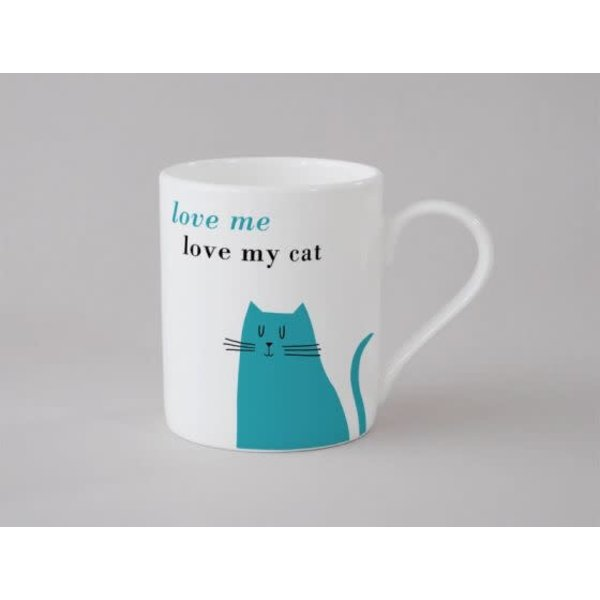 Felicidad Gato Sentado Taza Pequeña Azul136