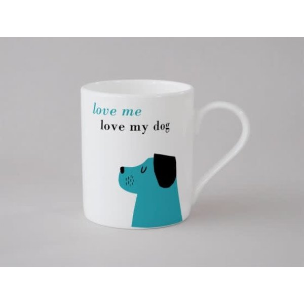 Happiness Dog Small Mug Blue 141