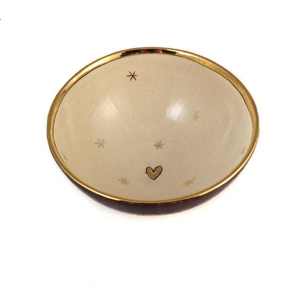 Estrellas y corazón Bol de cerámica púrpura y dorado 013