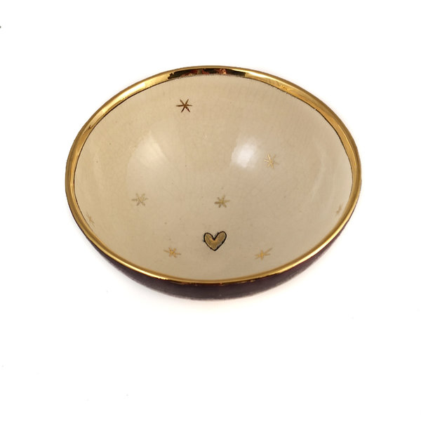 Stars and Heart Purple and gold ceramic bowl 013