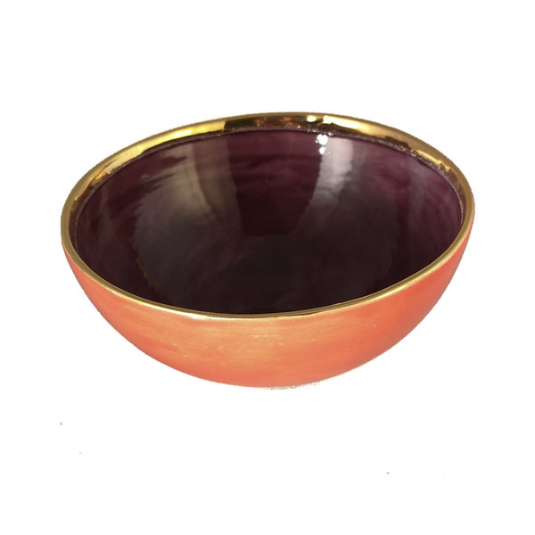Herz Orange, Lila und Gold Keramikschale 014