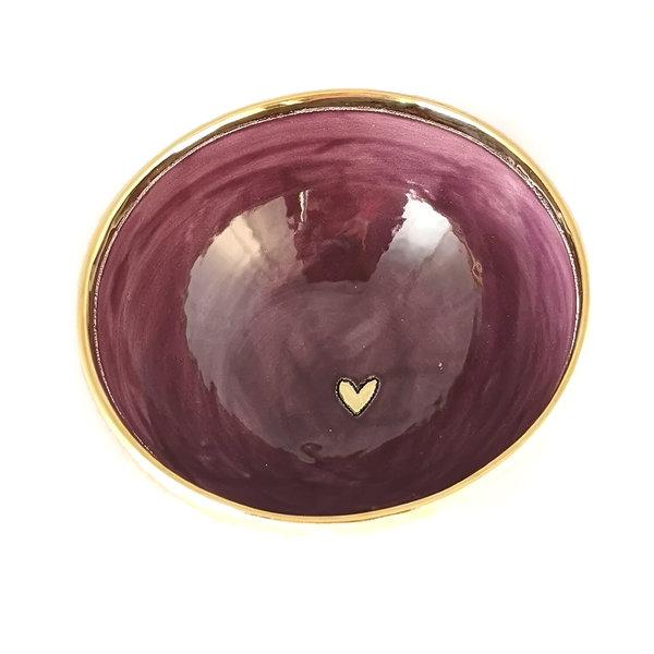 Heart Orange, Purple and gold ceramic bowl 014
