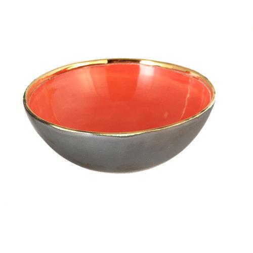 Sophie Smith Ceramics Corazón Platino, tazón de cerámica naranja y oro 015