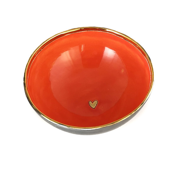 Herz Platin, Orange und Gold Keramikschale 015