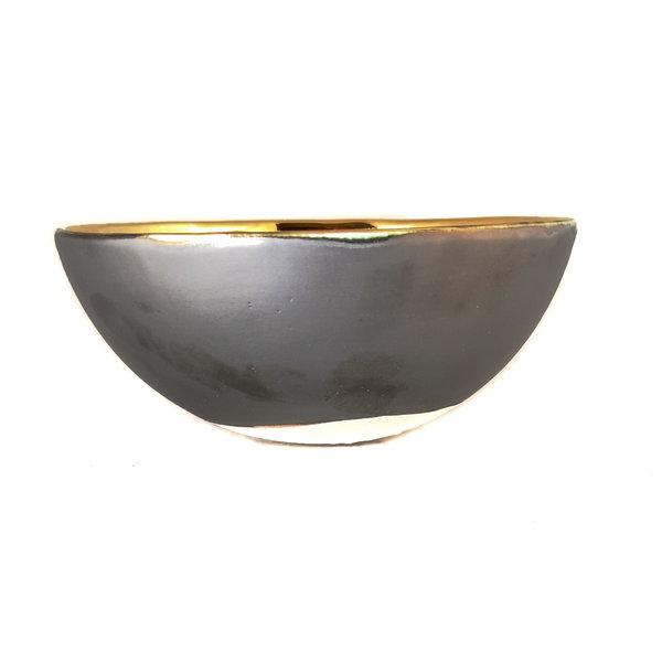 Heart Platinum, orange and gold ceramic bowl 015