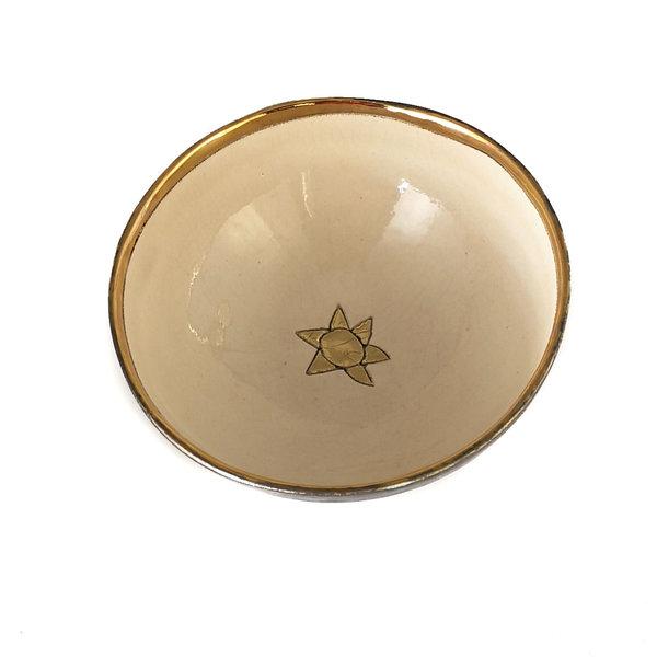 Star Platinum, cream, and gold ceramic bowl 016