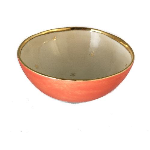 Sophie Smith Ceramics Corazón y estrellas Cuenco de cerámica naranja, crema y oro 017