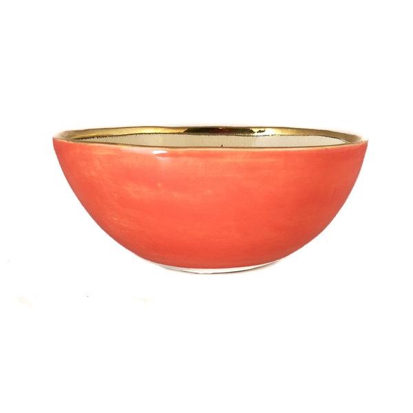 Corazón y estrellas Cuenco de cerámica naranja, crema y oro 017