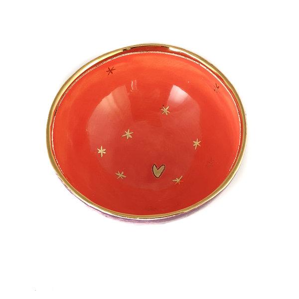 Corazón y estrellas Bol de cerámica púrpura, naranja y dorado 018