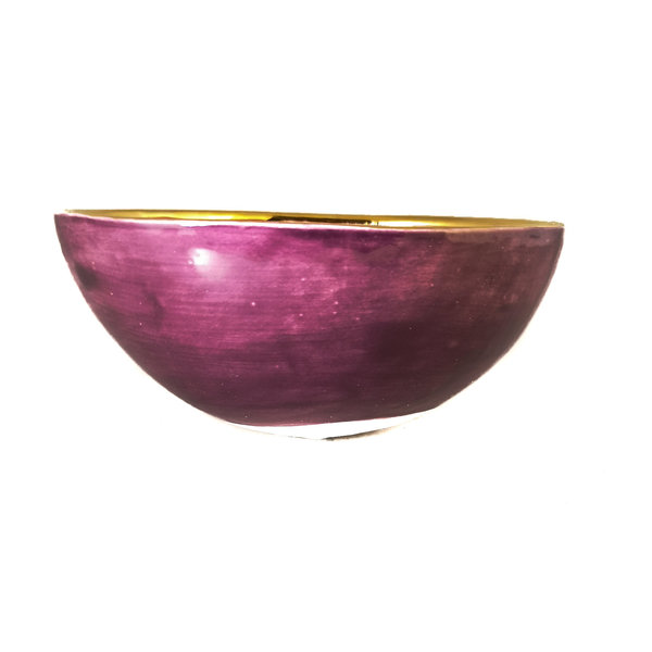 Heart and stars Purple, orange and gold ceramic bowl 018