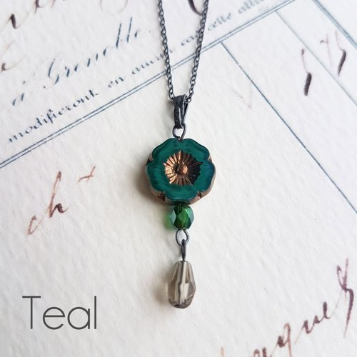 Judith Brown Bohemia Teal Glass bead Pendant  oxodised silver 34