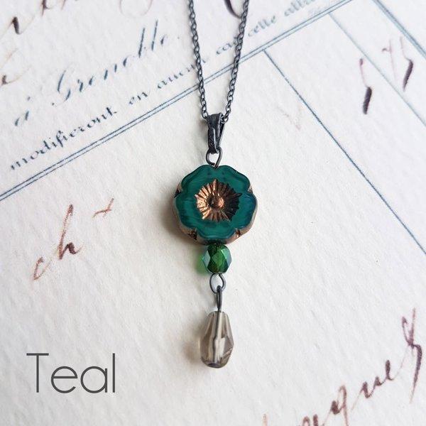 Bohemia Teal Glass bead Pendant  oxodised silver 34
