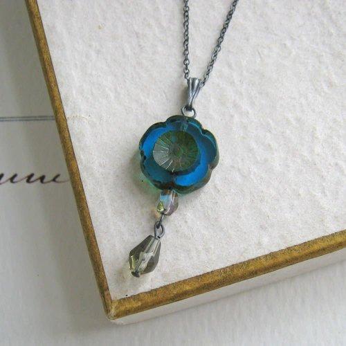 Judith Brown Bohemia Peacock Glass bead Pendant  oxodised silver 36