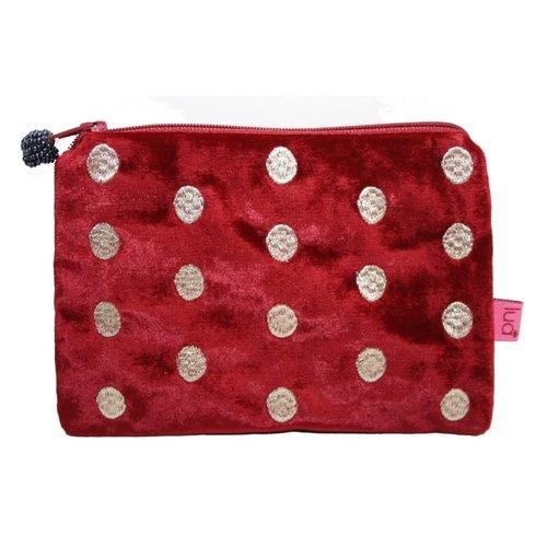 LUA Monedero de terciopelo bordado ovalados rojo 293