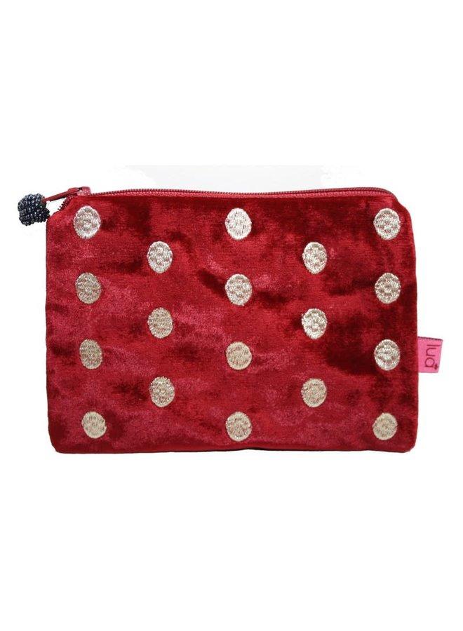 Ovale Handtasche aus besticktem Samt Rot 293
