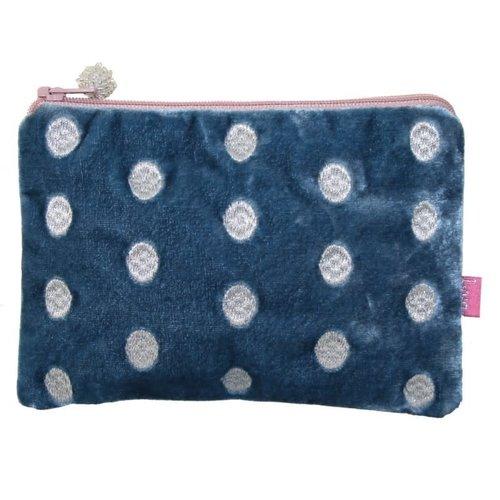 LUA Ovale Handtasche aus besticktem Samt Teal 175