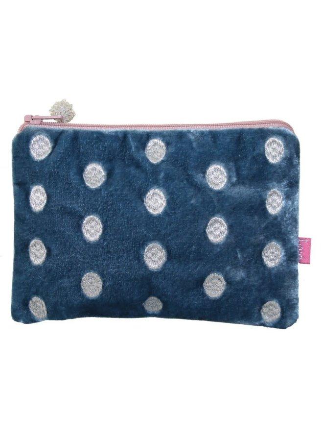 Ovale Handtasche aus besticktem Samt Teal 175