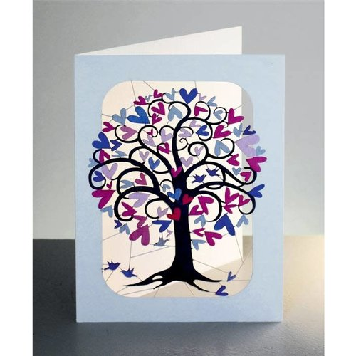 Forever Cards Curly Pink and Lilac heart tree and birds Laser cut card
