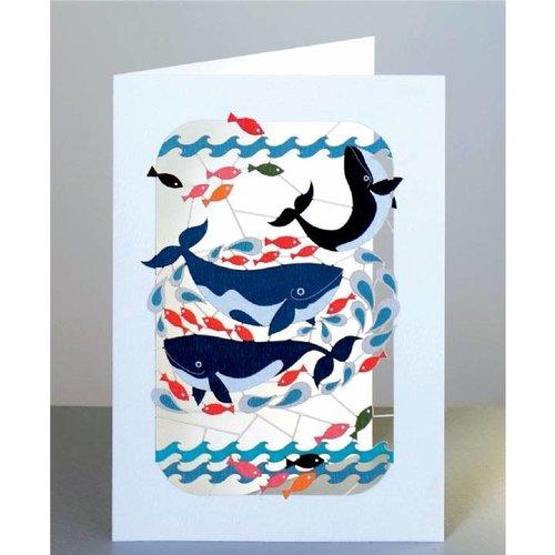 Forever Cards Wale und Fische Lasergeschnittene Karte